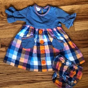 Other - 🌷Baby girl plaid and stripe dress with bloomers.